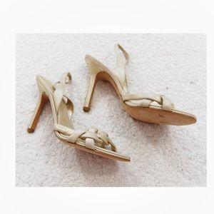 Bcbg maxazria beige 4 inch heels leather braided